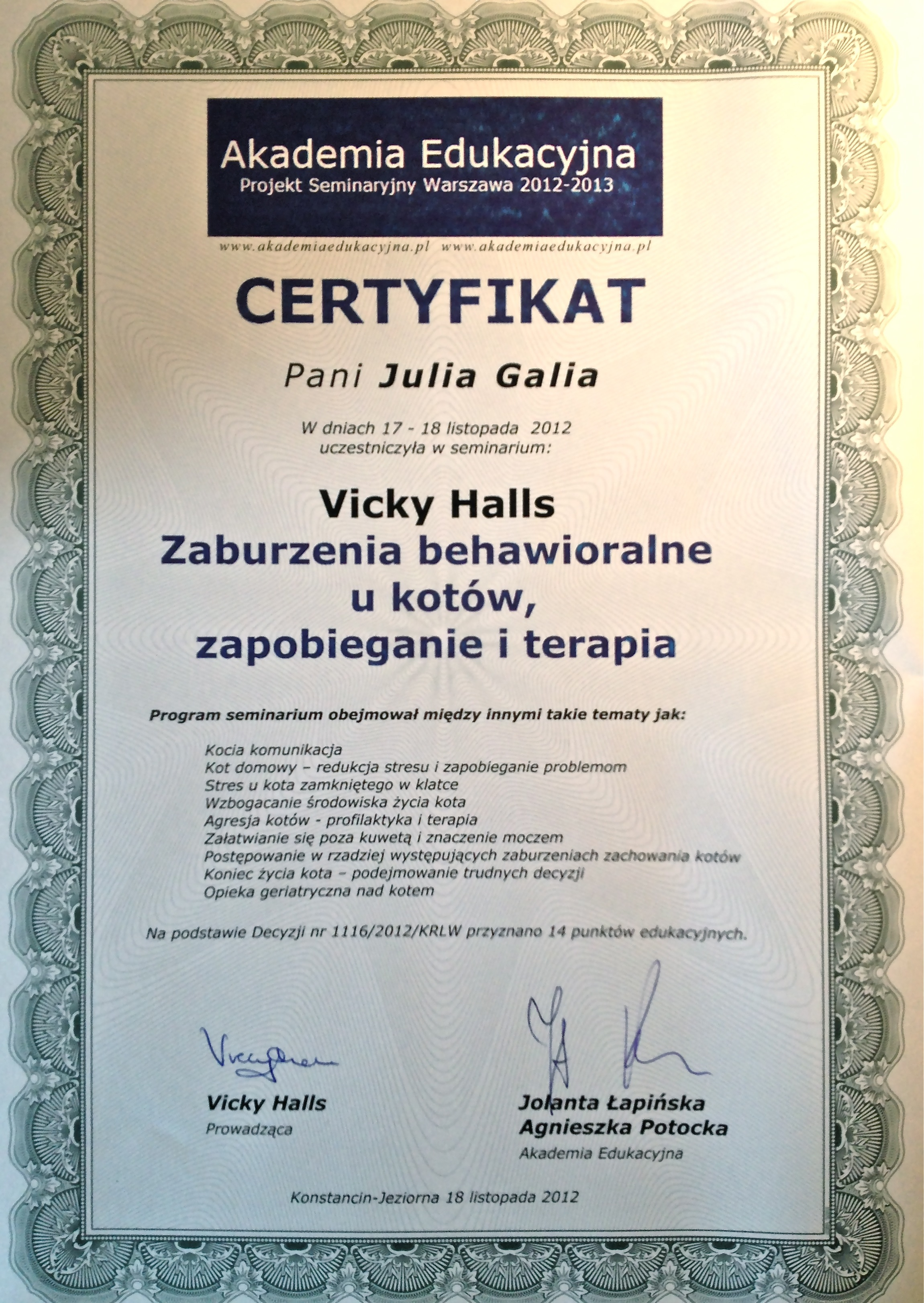 Julia Galia Zoopsycholog Koci Psycholog